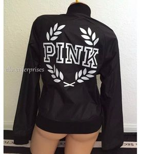 VS Pink Black White Crest Logo Zip Bomber Jacket